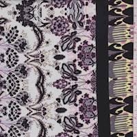 Pearl/Black Stylized Floral Rayon Challis