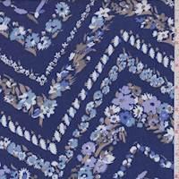 Ink Blue Floral Chevron Rayon Challis