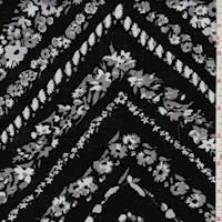 Black Floral Chevron Rayon Challis