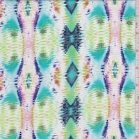 White/Teal/Lime Ikat Diamond Stripe Rayon Challis