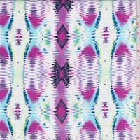 White/Magenta Ikat Diamond Stripe Rayon Challis