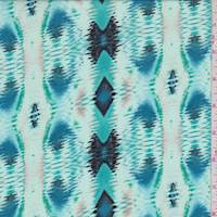 Mint/Turquoise Ikat Diamond Stripe Rayon Challis