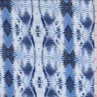Pale Blue/Periwinkle Ikat Diamond Stripe Rayon Challis
