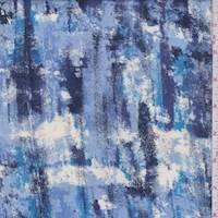 Sky Blue/Ink Brushstroke Rayon Challis