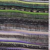 Beige/Green/Black Southwest Stripe Rayon Challis