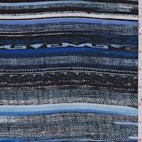 Royal/Black/Sky Southwest Stripe Rayon Challis