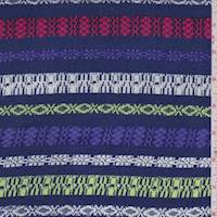 Dark Blue Multi Deco Stripe Rayon Challis