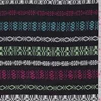 Black Multi Deco Stripe Rayon Challis