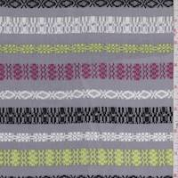 Grey Multi Deco Stripe Rayon Challis
