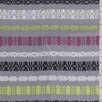 Grey Multi Deco Stripe Rayon Challis