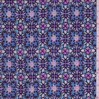 Ice Blue/Navy Multi Kaleidoscope Rayon Challis