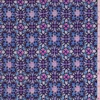 Ice Blue/Navy Multi Kaleidoscope Rayon Challis