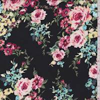 Black Multi Floral Bouquet Crepe