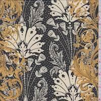 *2 1/8 YD PC--Black/Ivory/Gold Scroll Stripe Chiffon