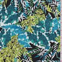 *1 3/8 YD PC--White/Teal Multi Leaf Print Rayon Challis