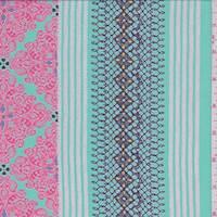 *3 7/8 YD PC--Aqua Green/Fuchsia Morrocan Print Chiffon