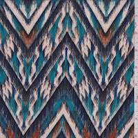 Violet/Teal Ikat Chevron Jersey Knit
