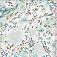 *2 3/4 YD PC--White/Aqua Paisley Floral Cotton Poplin