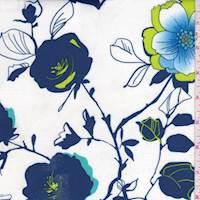 *2 1/4 YD PC--White/Blue/Lime Floral Scuba Knit