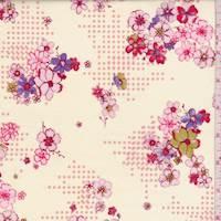 *1 7/8 YD PC--Creamy Yellow/Pink Floral Cotton Poplin