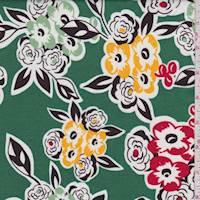 *1 3/8 YD PC--Emerald/Black Floral Cotton Lawn