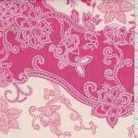 *1 YD PC--Peach/Coral Stylized Floral Wave Cotton Poplin