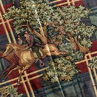 Green/Red/Multi Horse Ride Plaid Tapestry Decorating Fabric