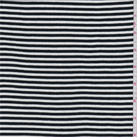 *2 1/4 YD PC--Black/White Stripe Rayon Jersey Knit