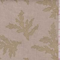 *1 YD PC--Natural/Golden Olive Seaweed Print Linen