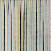 *2 1/2 YD PC--Ecru/Avocado Stripe Linen Look