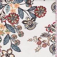*3 YD PC--Ivory Multi Floral Rayon Challis