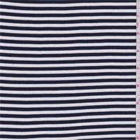 *1 YD PC--Navy/White Stripe Cotton Rib Knit