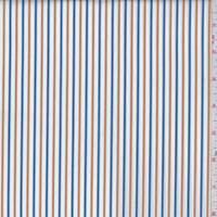 White/Blue/Goldenrod Stripe Cotton Shirting