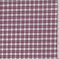 Maroon/White Plaid Check Cotton Shirting