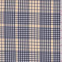Canary/Black Gingham Plaid Cotton Shirting