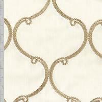 *1 5/8 YD PC--Windham Cream Quatrefoil Embroidered Home Decorating Fabric