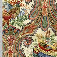 *2 5/8 YD PC--Beige/Multi Animal Paisley Print Canvas Home Decorating Fabric