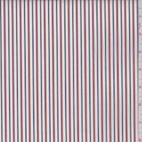 White/Ruby/Navy Stripe Cotton Shirting