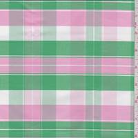 Pink/Green/White Plaid Cotton Oxford Shirting