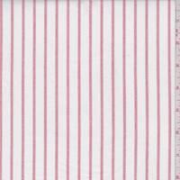 White/Red Stripe Cotton Oxford Shirting
