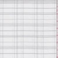 White/Grey Plaid Cotton Oxford Shirting