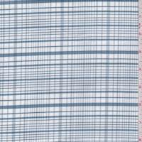 Slate Blue/White Plaid Cotton Oxford Shirting