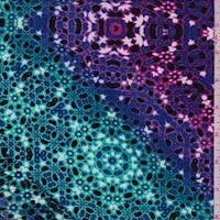 *2 1/2 YD PC--Aquamarine/Violet Moroccan Rayon Challis
