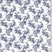 *3 YD PC--White/Navy Floral Spring Poplin