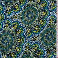 *3 1/2 YD PC--Navy/Green Floral Medallion Peachskin