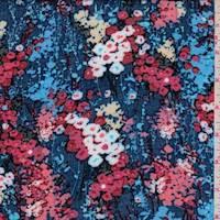 *2 7/8 YD PC--Blue/Sky Floral Rayon Challis