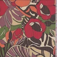 *2 YD PC--Ecru/Red/Avocado Tropical Floral Crinkled Chiffon