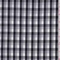 *1 1/8 YD PC--Grey/White/Black Check Cotton Poplin