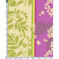 *1 5/8 YD PC--Fuchsia/Green Nel Whatmore Sleeping Beauty Leaf Weave Print Cotton