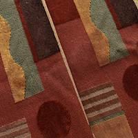 Red/Multi Abstract Modern Art Velvet Grospoint Decor Fabric